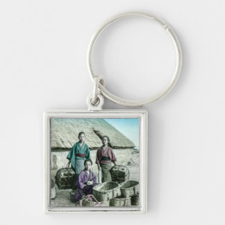 Fishing Village in Old Japan Vintage Japanese Silver-Colored Square Key Ring
