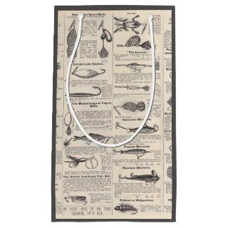 Fishing Vintage Advertising Newsprint Small Gift Bag