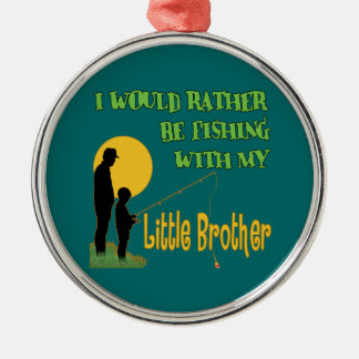 Fishing With Little Brother Silver-Colored Round Decoration