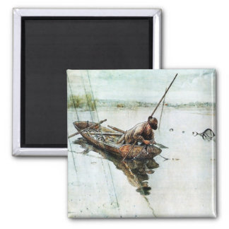 Fishing with Nets 1905 Square Magnet