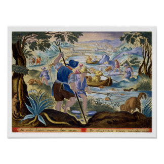 Fishing with Tridents, plate 90 from 'Venationes F Poster