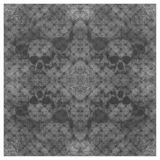 Fishnet Damask Skulls Goth fabric