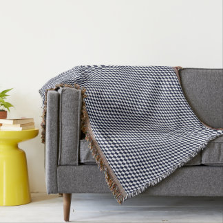 Fishy Houndstooth Pattern Navy and White Blanket