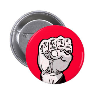fist in the air 6 cm round badge