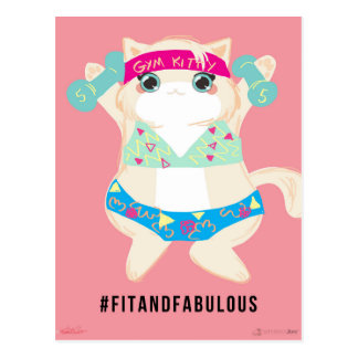 FIt and Fabulous Gym Cat Postcard
