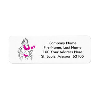 Fit Chick w Lipstick- Pink Return Address Label