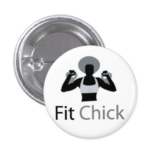 Fit Chick with Afro holding kettlebells 3 Cm Round Badge