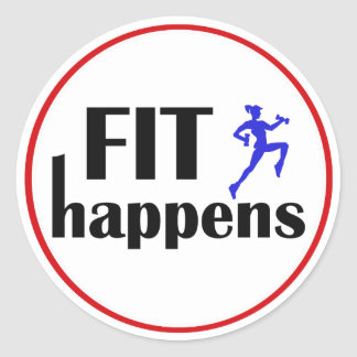 Fit Happens Workout Motivation Round Stickers