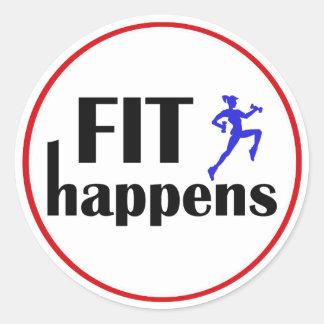Fit Happens Workout Motivation Classic Round Sticker
