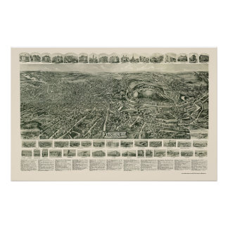 Fitchburg, MA Panoramic Map - 1915 Poster
