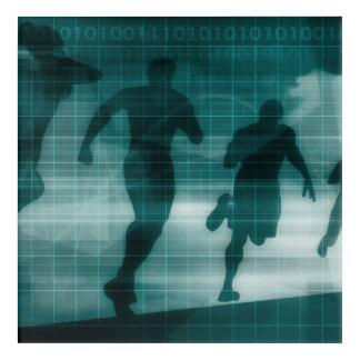 Fitness App Tracker Software Silhouette Acrylic Wall Art