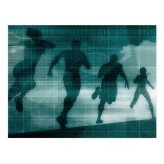 Fitness App Tracker Software Silhouette Illustrati Postcard