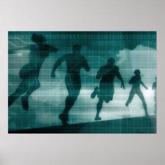 Fitness App Tracker Software Silhouette Illustrati Poster