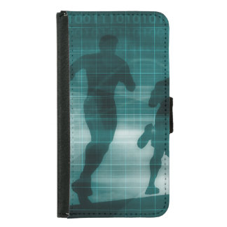 Fitness App Tracker Software Silhouette Illustrati Samsung Galaxy S5 Wallet Case