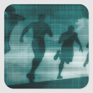 Fitness App Tracker Software Silhouette Illustrati Square Sticker