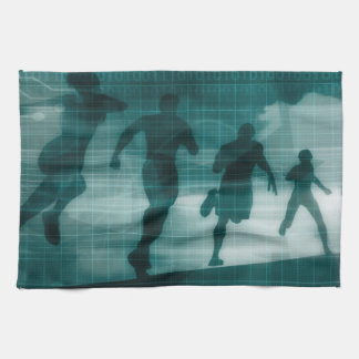 Fitness App Tracker Software Silhouette Illustrati Tea Towel