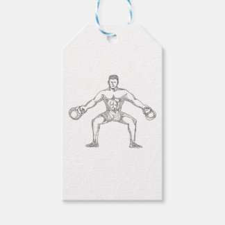 Fitness Athlete Lifting Kettlebell Doodle Art Gift Tags