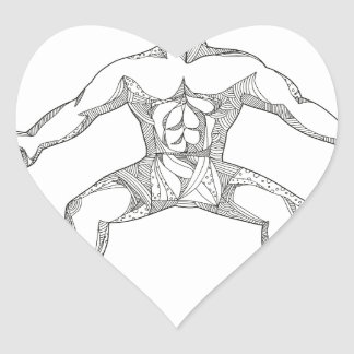 Fitness Athlete Lifting Kettlebell Doodle Art Heart Sticker