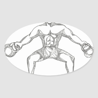 Fitness Athlete Lifting Kettlebell Doodle Art Oval Sticker