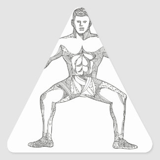 Fitness Athlete Lifting Kettlebell Doodle Art Triangle Sticker