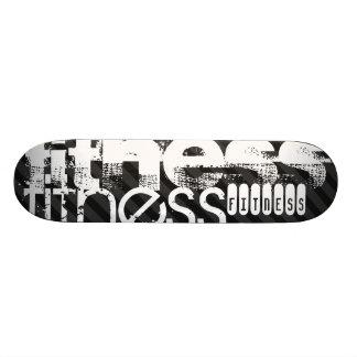 Fitness; Black & Dark Gray Stripes Skate Decks