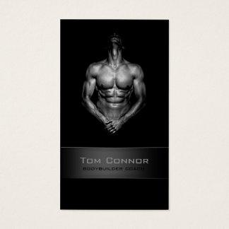 Fitness Bodybuilder Coach Black Business Card