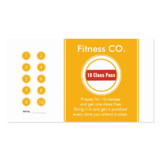 Fitness Business Card 10 Class Pass Template
