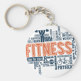 Fitness, exercise, health basic round button key ring