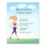 Fitness Girl Cartoon 11 Cm X 14 Cm Invitation Card