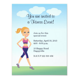Fitness Girl Cartoon 11 Cm X 14 Cm Invitation Card