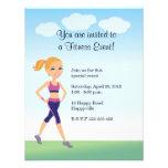 Fitness Girl Cartoon Custom Invites