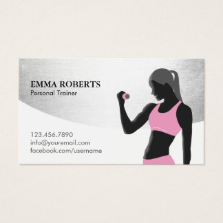 Fitness Girl Personal Trainer Classy Silver Modern
