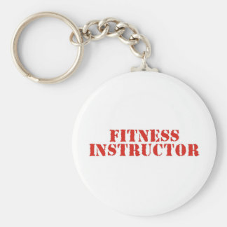 Fitness Instructor/Red Basic Round Button Key Ring