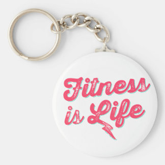 Fitness is Life Hot Pink Fitness Motivation Key Ring