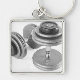 fitness Silver-Colored square key ring