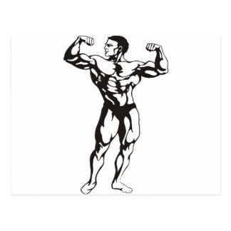Fitness Man Muscles Postcard