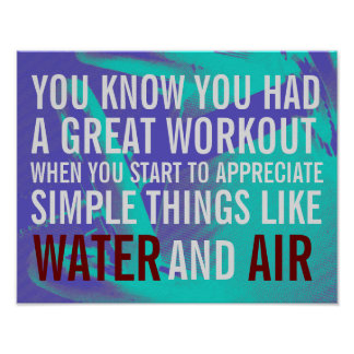 Fitness motivation text blue background poster