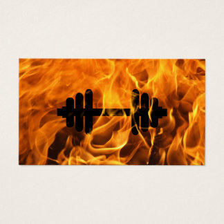 Fitness Personal Trainer Fire and Flames Business Card