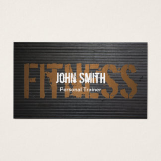 Fitness Professional Grunge Metal Personal Trainer Business Card