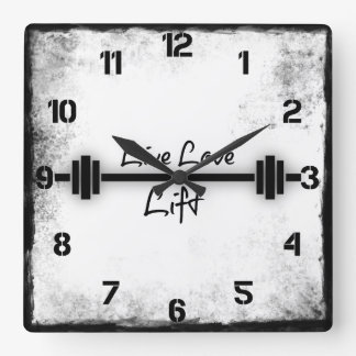Fitness Quote: Live Love Lift Square Wall Clock