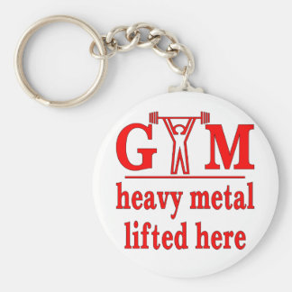 Fitness Strength Gym Heavy Metal Lifted Here Basic Round Button Key Ring
