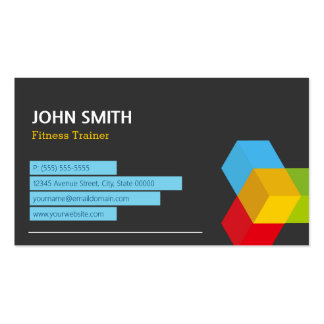 Fitness Trainer - Abstract Cube Logo Business Card Template