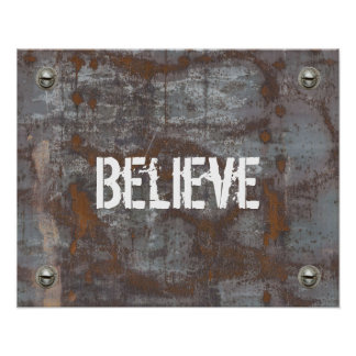 "Fitness Trainer ""Believe"" Rusty Metal Motivational Poster"