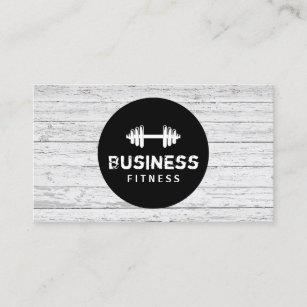 Gym business cards zazzle au fitness trainer modern black circle wood gym business card colourmoves