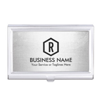 Fitness Trainer Modern Silver Monogram Business Card Holder