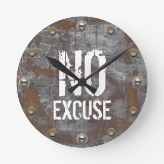 Fitness Trainer No Excuse Rusty Metal Motivational Clocks