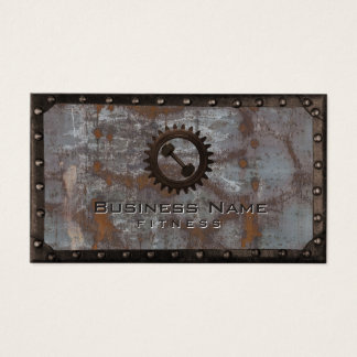 Fitness Trainer Rusty Grunge Metal Professional Business Card