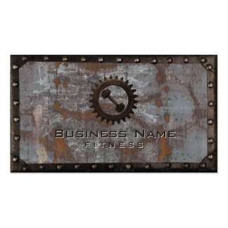 Fitness Trainer Rusty Grunge Metal Professional Pack Of Standard Business Cards