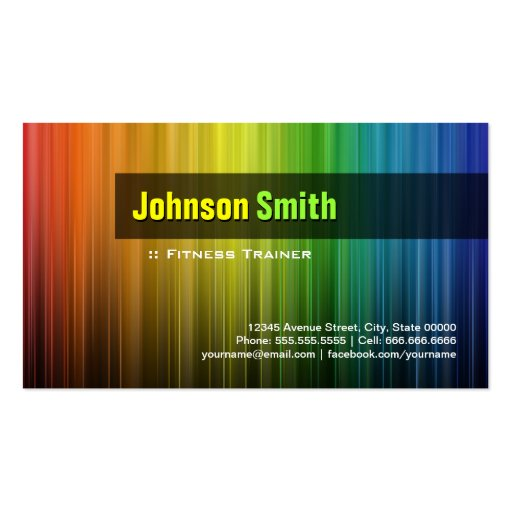 Fitness Trainer - Stylish Rainbow Colors Business Cards