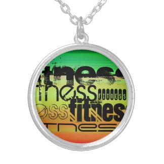 Fitness; Vibrant Green, Orange, & Yellow Round Pendant Necklace